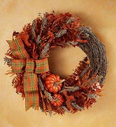 Preserved Harvest Plaid Fall Wreath - 18""