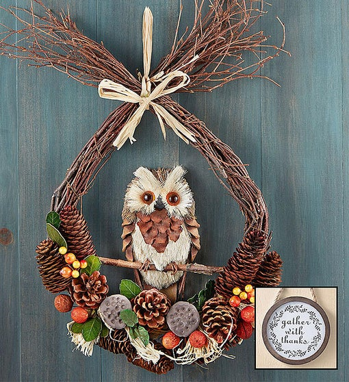 Preserved Fall Owl Wreath - 18