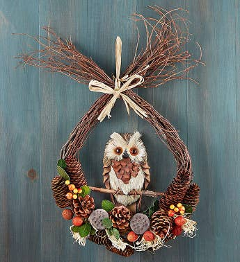 Preserved Fall Owl Wreath- 10