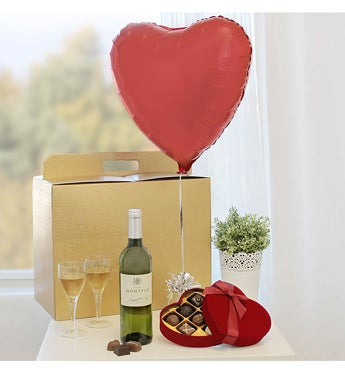 Heart Balloon with White Wine & Heart Chocolates