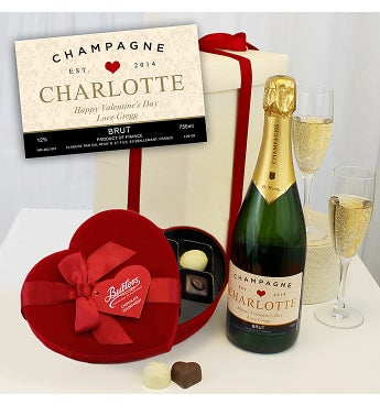 Personalised Champagne & Heart Chocolates