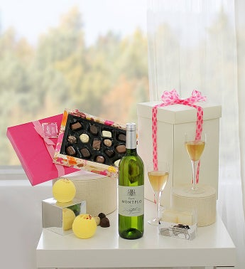 Mom's Treat Box with White Wine