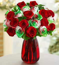 Christmas Kaleidoscope Roses, 12-24 Stems