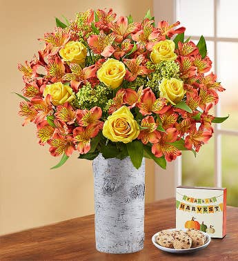 Fall Rose  Peruvian Lily Bouquet  Free Cookies