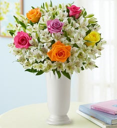 Assorted Rose & Peruvian Lily Bouquet for Sympathy