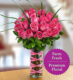 Two Dozen Premium Long-Stem Pink Roses
