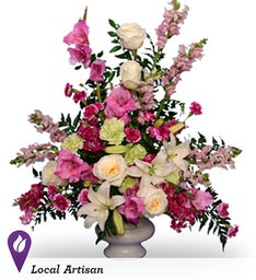 Magenta Sunset Urn Sympathy Arrangement