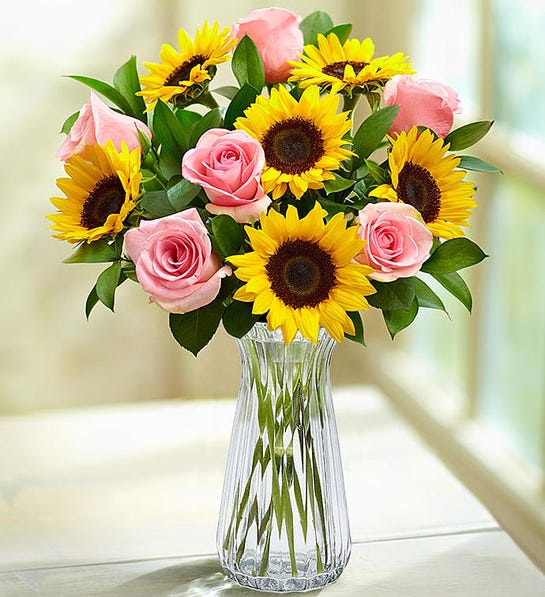 Ray of Sunshine Bouquet with Clear Vase