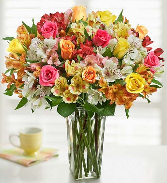 Assorted Roses  Peruvian Lily