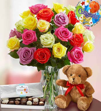 Congratulations Assorted Roses: 12-24 Stems