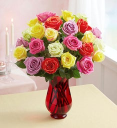 Two Dozen Assorted Roses + Free Premium Vase