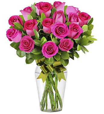 24 Hot Pink Roses
