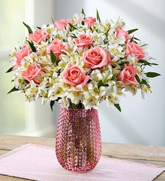 Graceful Pink Rose & Peruvian Lily