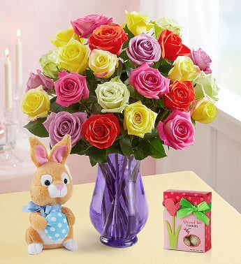 Easter Roses with Bunny + Free Cookies