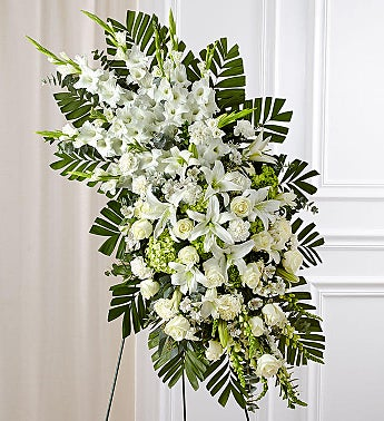 White Rose & Lily Sympathy Standing Spray