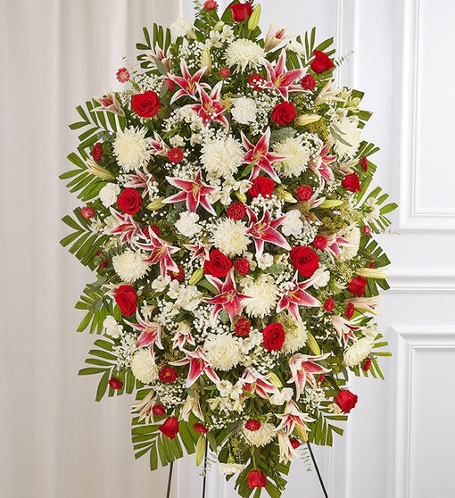 Red Rose & Lily Sympathy Standing Spray
