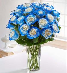 Electric Blue Airbrushed Roses