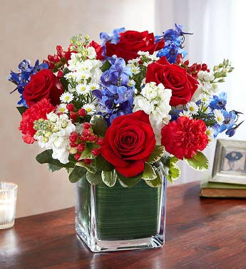 Patriotic funeral flowers red white blue flowers 1800flowers healing tears red white blue mightylinksfo
