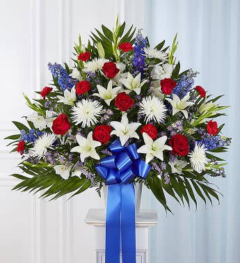 Heartfelt Sympathies Standing Basket- Red White  Blue