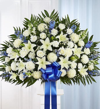 Heartfelt Sympathies Standing Basket- Blue  White