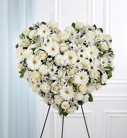 Always Remember(TM) Floral Heart Tribute - Solid White