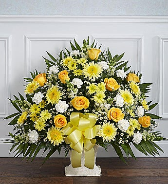Heartfelt Tribute™ Yellow Floor Basket Arrangement