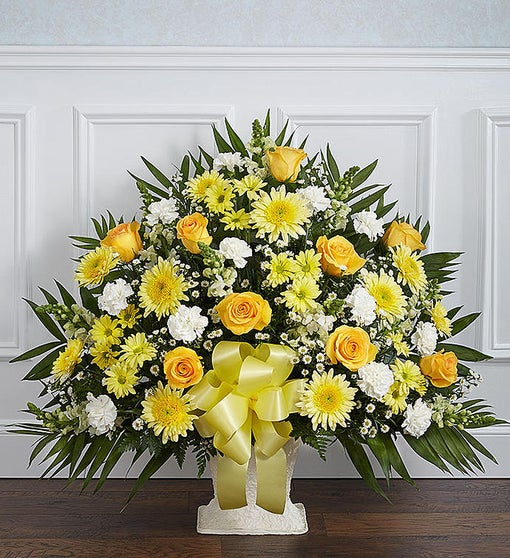 Heartfelt Tribute™ Floor Basket- Yellow