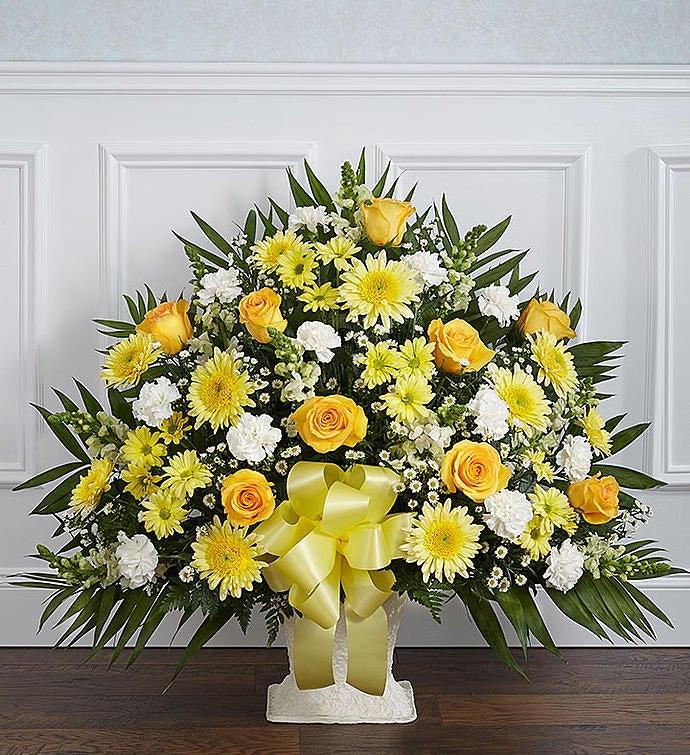 heartfelt tribute floor basket yellow. Black Bedroom Furniture Sets. Home Design Ideas