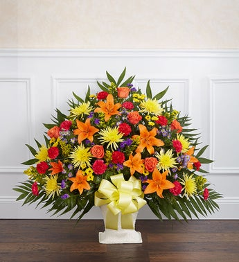 Heartfelt Tribute Floor Basket- Bright