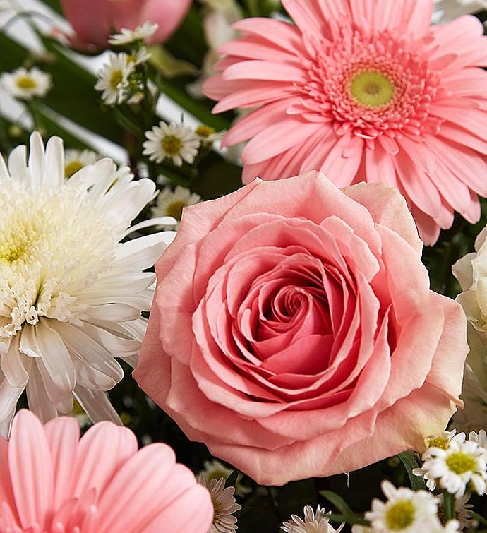 Heartfelt tribute floor basket pink white 1800flowers 148750 148750altview mightylinksfo