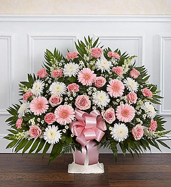 Heartfelt Tribute™ Pink & White Floor Basket Arrangement