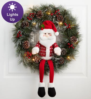 Keepsake Santa Wreath with LED lights - 22""