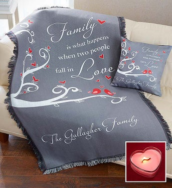 Personalized Love Pillow and Blanket with Candle