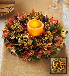 Preserved Autumn Glow Centerpiece and Wreath