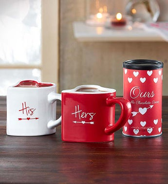 His and Hers Mug Gift Set with Hot Cocoa