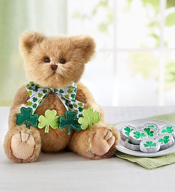 Bearington St Patricks Bear with Shamrock Chocolates