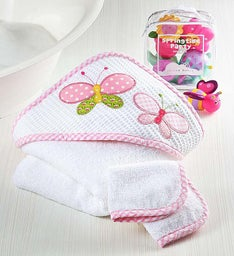 Butterfly Hooded Towel Set and Bath Toys