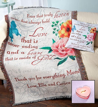 Personalized Mother's Day Throw, Pillow & Candle Set