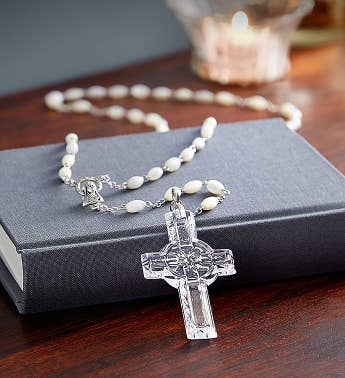 Waterford® Mother-of-Pearl and Crystal Rosary