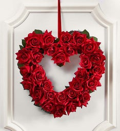 Keepsake Red Rose Heart Shaped Wreath – 12""
