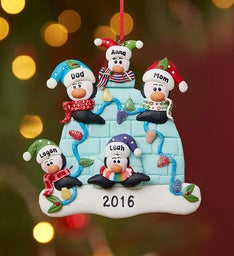 Personalized Penguin Family Ornament
