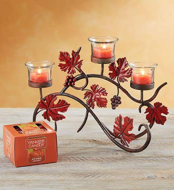 Fall Candelabra with Yankee Candle Tealight Set