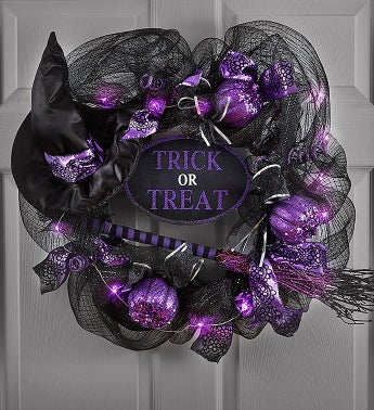Trick-Or-Treat Light Up Witch Wreath-24