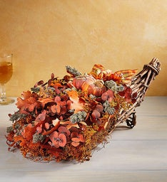 Preserved Harvest Plaid Cornucopia & Wreath