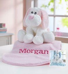 Personalized Puppy and Blanket