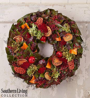 Preserved Magnolia Fall Wreath by Southern Living