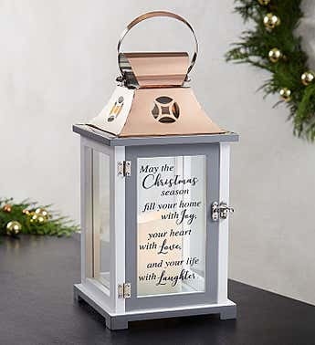 Joyful Love Christmas Lantern with LED Candle