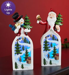 Lighted Santa and Snowman Pair