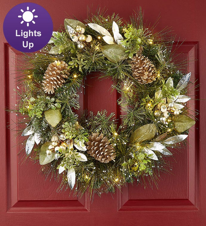 Winter Splendors Light Up Metallic Wreath - 24