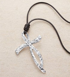Hammered Silver Cross Necklace by Bayberry Road